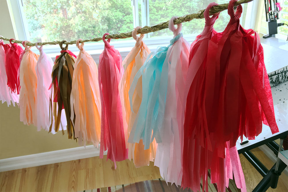 Custom handmade tissue tassel garland for client bridal shower
