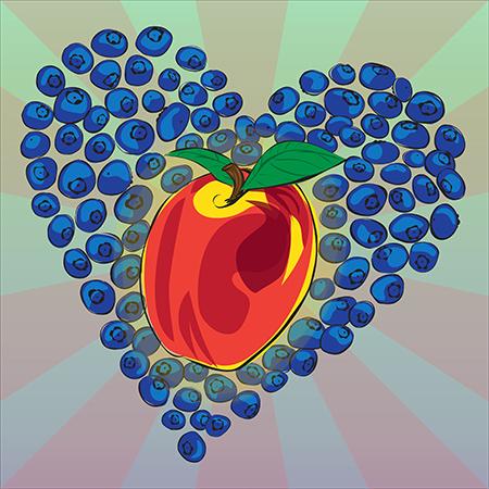Blueberry + Nectarine Heart Digital Illustration