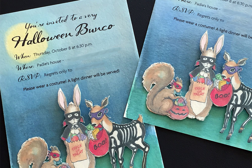 Handmade custom invitations for a Halloween bunco party