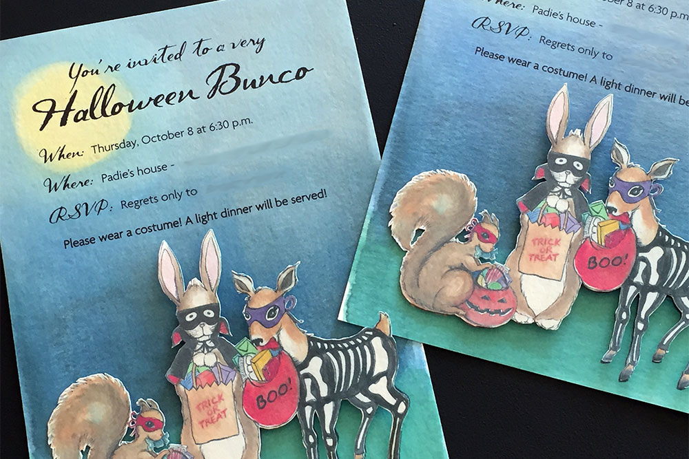 Custom Party Invitations: Halloween Bunco