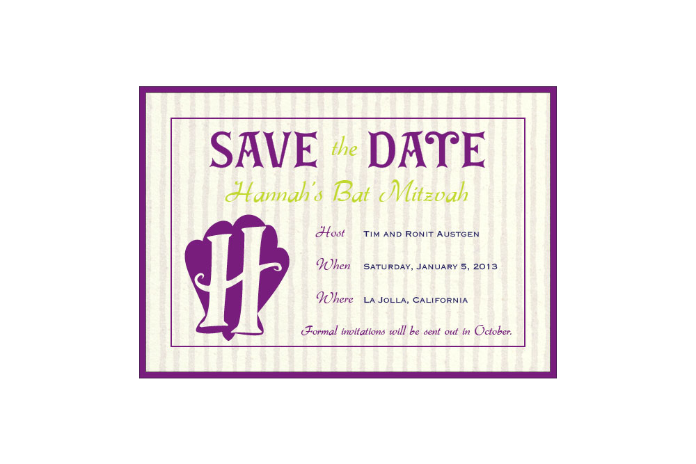 Custom Bat Mitzvah Save the Date (digital only)