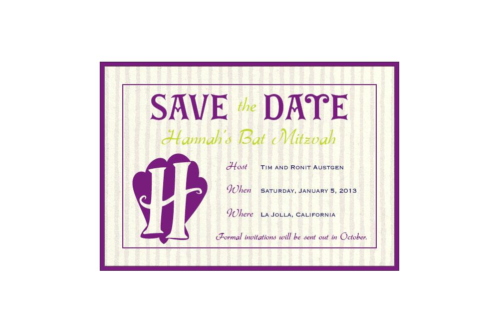 Custom Bat Mitzvah Save the Date (digital only)