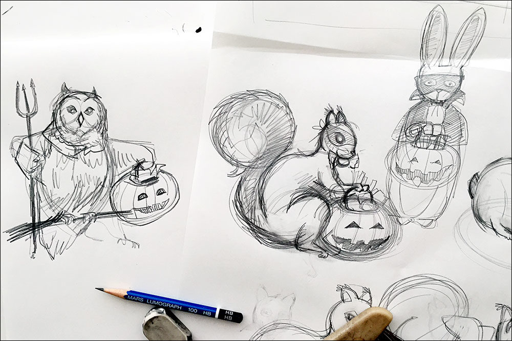 Pencil sketches for custom party invitations for a Halloween Bunco