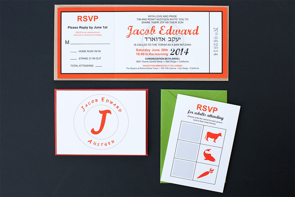 Baseball Ticket Bar Mitzvah Invitation Suite