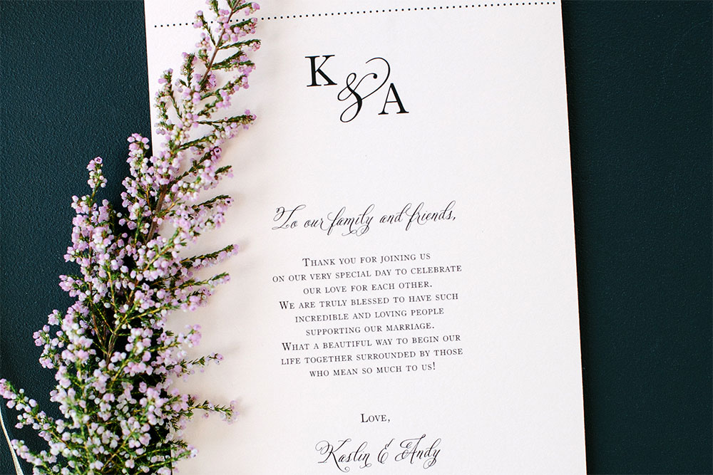 Program: Kaslin & Andrew Wedding