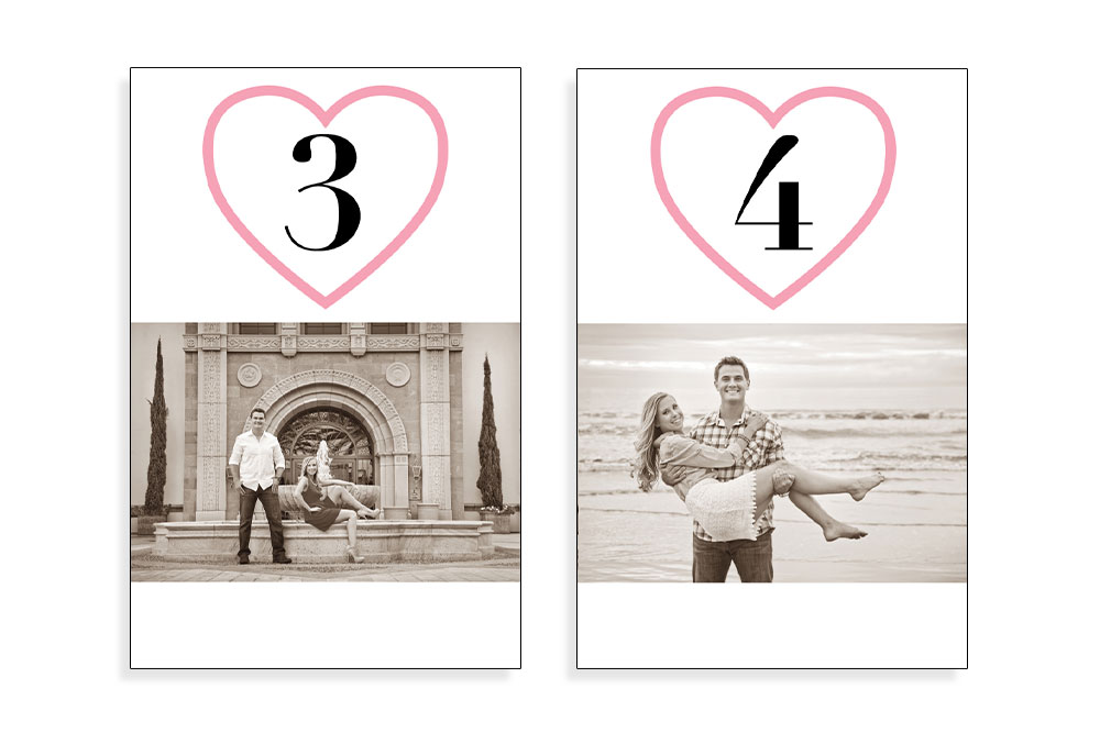 Graphic Design: Custom Wedding Table Numbers