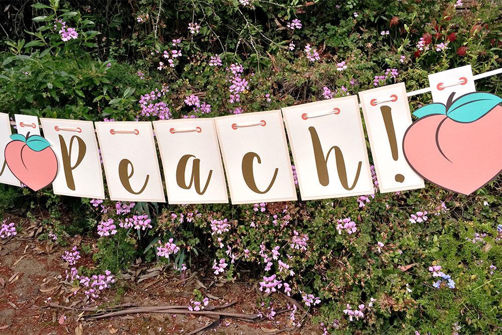Custom handmade peach letters garland