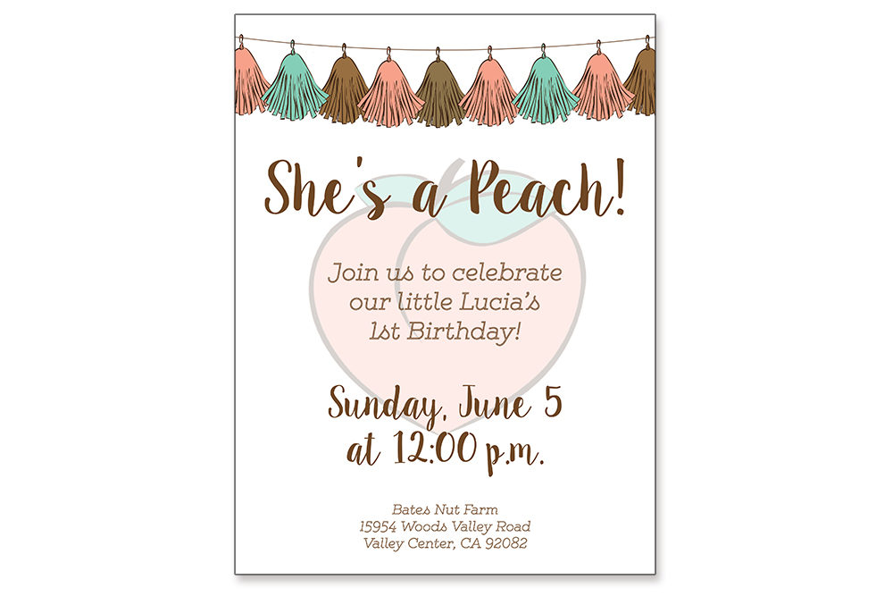 Digital design of custom peach invitation