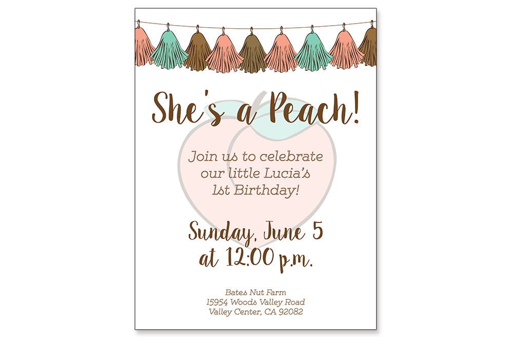 Custom Invitation and Garland: Peach Birthday Party