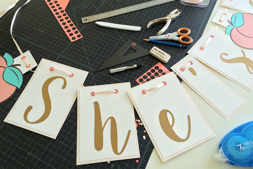 Making a custom handmade peach letters garland