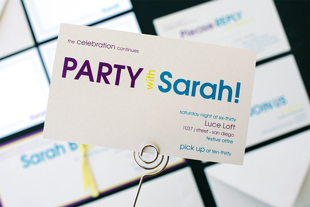 Colorful Party Bat Mitzvah Invitations