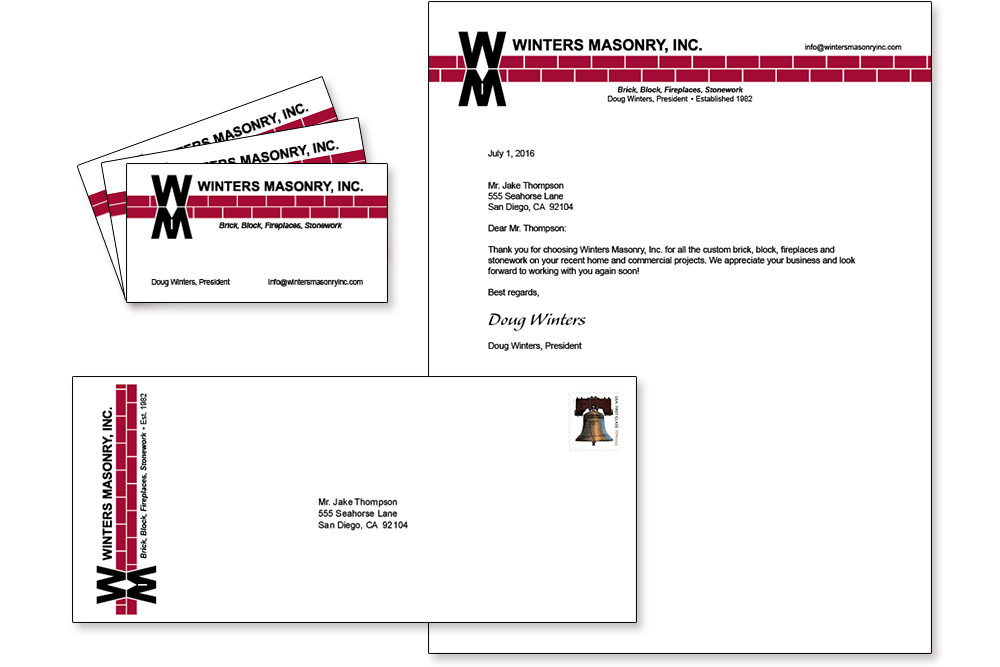 Letterhead suite with new logo design for Winters Masonry, Inc.